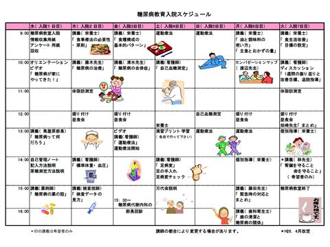 当院における糖尿病教育入院スケジュール